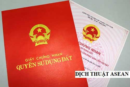 dịch thuật giấy chứng nhận quyền sử dụng đất nhà ở