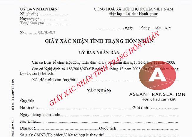 Dịch giấy chứng nhận xác nhận tình trang hôn nhân